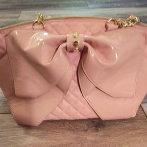 Betsey Johnson bow detail pink bag